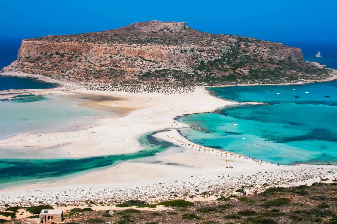 'Fantastic panorama of Balos Lagoon and Gramvousa island on Crete, Greece. Cap tigani in the center' - Chania